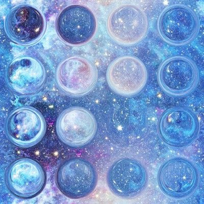 CIRCLES BUBBLES UNDER A BLUE NEBULA STARRY SKY