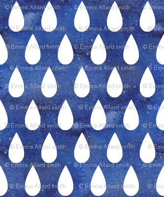 Raindrops - white on blue - larger scale