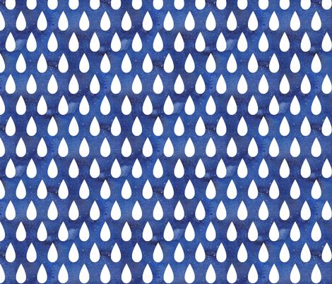 Raindrops - white on blue - larger scale fabric by emeryallardsmith on Spoonflower - custom fabric