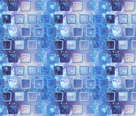 Ice cube alternated under a blue nebula starry sky fabric for Starry sky fabric