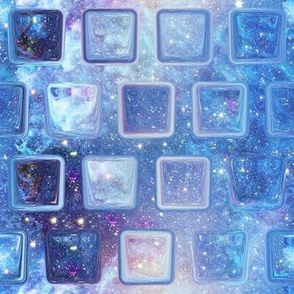 ICE CUBE ALTERNATED UNDER A BLUE NEBULA STARRY SKY