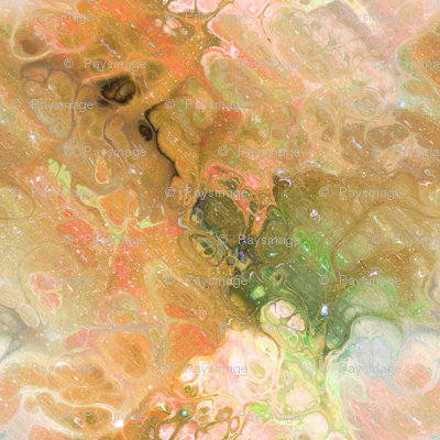ORANGE RUST GREEN XL EVANESCENT MARBLE FLOWER IN THE SKY NEBULA