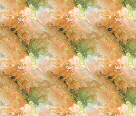 ORANGE RUST GREEN XL EVANESCENT MARBLE FLOWER IN THE SKY NEBULA fabric by paysmage on Spoonflower - custom fabric