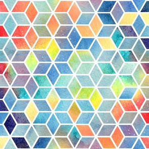 Hexagon Watercolour Rainbow