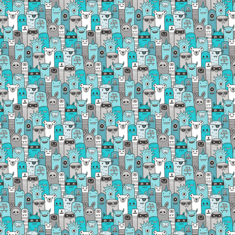 Monsters and Friends Aqua Blue Tiny Small fabric by caja_design on Spoonflower - custom fabric