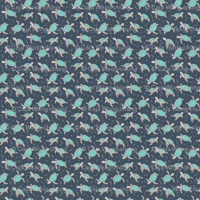 Sea Turtles Green Mint Nautical Ocean on Dark Blue Navy Tiny Small