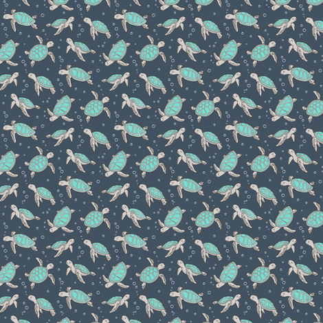 Sea Turtles Green Mint Nautical Ocean on Dark Blue Navy Tiny Small fabric by caja_design on Spoonflower - custom fabric