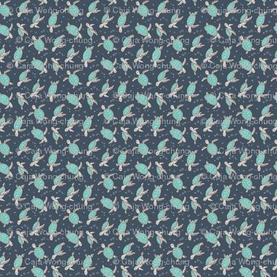 Sea Turtles Green Mint Nautical Ocean on Dark Blue Navy Tiny Small Rotated