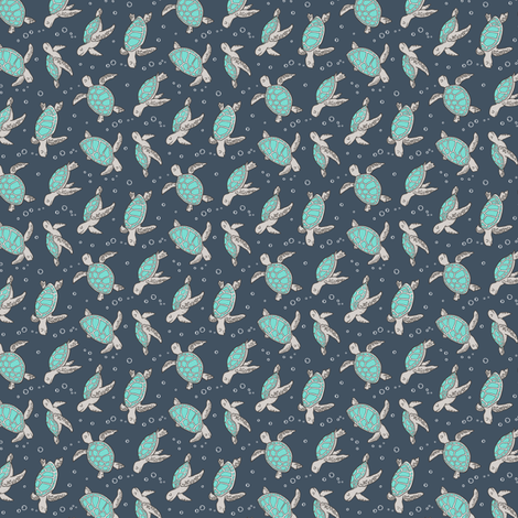 Sea Turtles Green Mint Nautical Ocean on Dark Blue Navy Tiny Small Rotated fabric by caja_design on Spoonflower - custom fabric