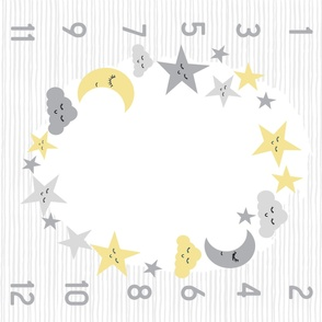 "42"" sun moon and stars milestone blanket baby design"