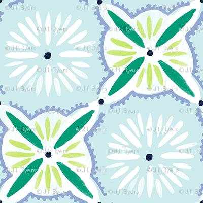 Daisy Tile - Light Blue & Green