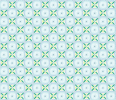 Daisy Tile - Light Blue & Green fabric by jillbyers on Spoonflower - custom fabric