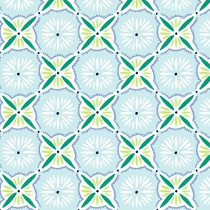 Daisy Tile - Light Blue & Green