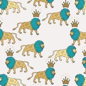 leo lion gold and turquoise small