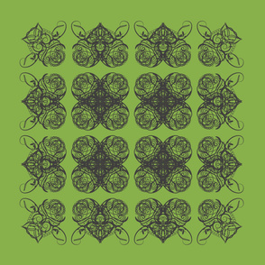 Interlaced Hearts - black on green