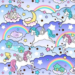 17 Pegasus winged unicorns pegacorns stars rainbows clouds trees ponds lakes teddy bears shooting cats fairy kei lolita sky skies pony ponies horses kawaii japanese inspired moon castles  colorful