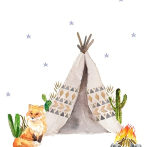 "42""x72"" / Wild One Fox & Teepee / 2 Yards for KONA / BASIC or POPLIN"
