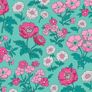 Floral Flowers Vintage Garden Pink On Mint Green