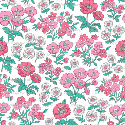 Floral Flowers Vintage Garden Pink On White