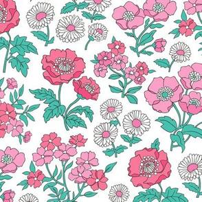 Floral Flowers Vintage Garden Pink On White