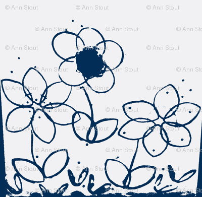 stamped flowers indigo positive