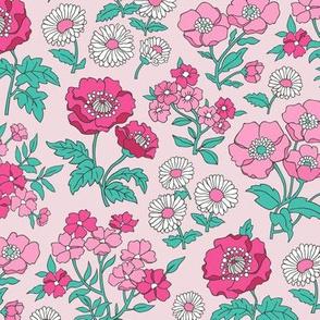 Floral Flowers Vintage Garden Pink On Soft Pink
