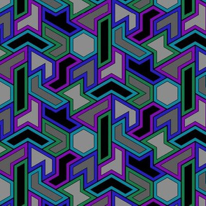 Hexiamond 3,4-coloring (cool colors)