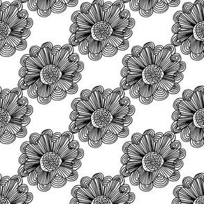 Flowers 1 Black on White