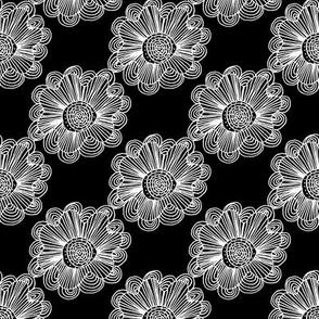 Flowers 1 White on Black