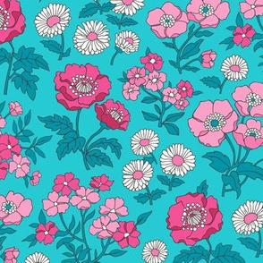 Floral Flowers Vintage Garden Pink On Aqua Blue