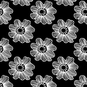 Flowers 2 White on Black