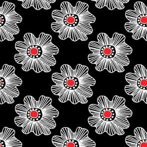 Flowers 2 White on Black, Red Center