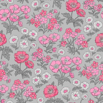 Floral Flowers Vintage Garden Pink White On Light Grey
