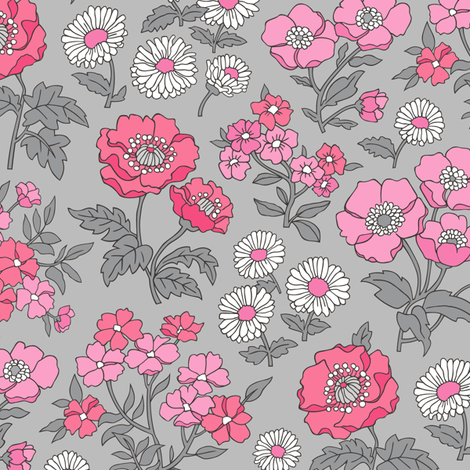 Floral Flowers Vintage Garden Pink White On Light Grey fabric by caja_design on Spoonflower - custom fabric