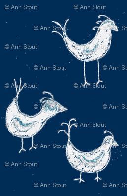 birds in muddy indigo
