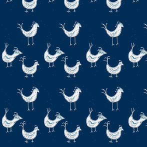 birds in muddy indigo