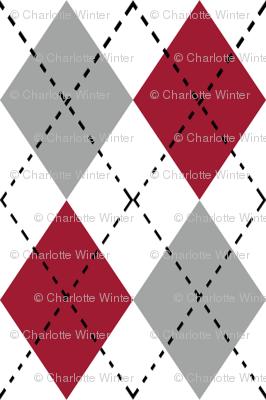 Argyle pattern college sports  grey crimson and white alabama