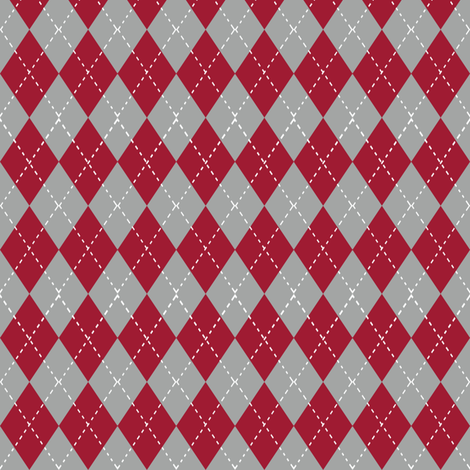 Argyle pattern college sports  grey crimson and white alabama   fabric by charlottewinter on Spoonflower - custom fabric