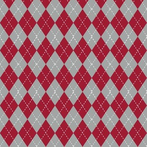 Argyle pattern college sports  grey crimson and white alabama