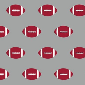 Football pattern college sports  grey crimson and white alabama
