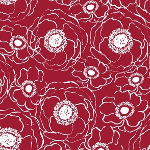 blooms line art flowers floral blossom grey crimson and white alabama