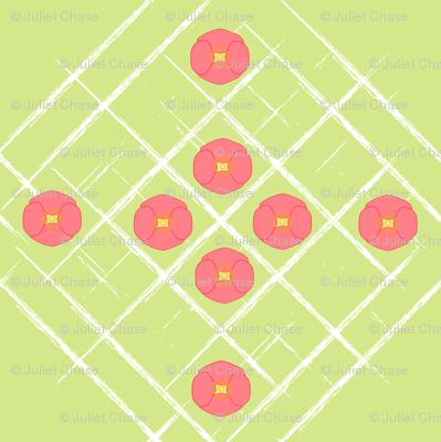 Pink Poppies on Grunge Grid
