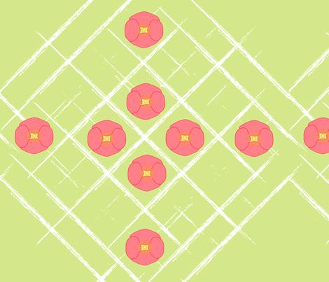 Pink Poppies on Grunge Grid fabric by vivaeris_designs on Spoonflower - custom fabric