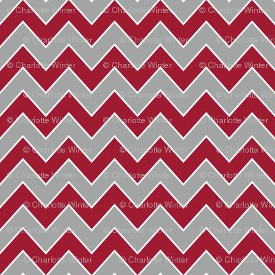 Chevron alabama colors crimson white and grey fabric pattern
