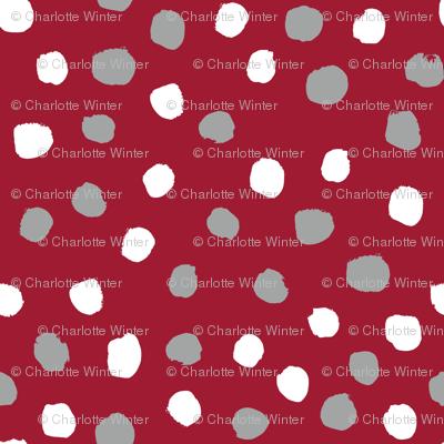 Dots polka dots alabama colors crimson white and grey fabric pattern
