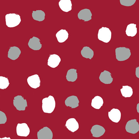 Dots polka dots alabama colors crimson white and grey fabric pattern fabric by charlottewinter on Spoonflower - custom fabric