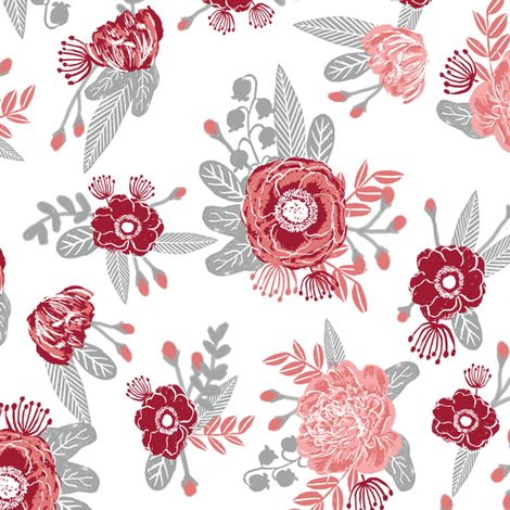 Flowers floral bouquet alabama colors crimson white and grey fabric pattern fabric by charlottewinter on Spoonflower - custom fabric