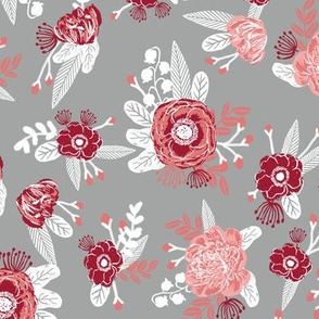 Flowers floral bouquet alabama colors crimson white and grey fabric pattern