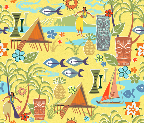 Mid Century Hawaiian fabric by vinpauld on Spoonflower - custom fabric