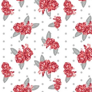 Flowers floral alabama colors crimson white and grey fabric pattern